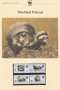 Marbled Polecat Kazakstan WWF Stamps and Set Of 4 First Day Cover Bundle