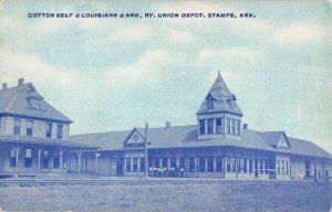 Stamps Arkansas Union Railroad Depot Cotton Belt Vintage Postcard KK456