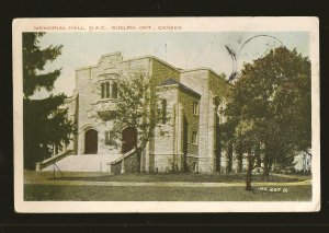 Postmarked 1931 Memorial Hall OAC Guelph Ontario Valentine Color  Postcard