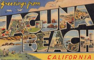 Laguna Beach California Greetings From large letter linen antique pc ZA440619