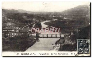 Postcard Old Behobie Vue Generale The International Bridge