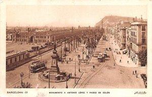 Monumento a Antonio Lopez y Paseo de Colon Barcelona Spain Unused