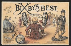 VICTORIAN TRADE CARD Bixby Best Shoe Blacking Men Huge Shoes Relieve Tender Feet