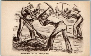 WWII Artist-Signed Military Postcard WORKING UP AN APPETITE Soldier Comics