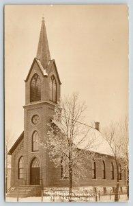 Greenwood Wisconsin~German Reformed Immanuel Lutheran Church~Snow~1912 RPPC
