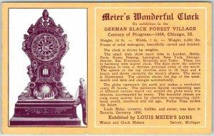 1934 Chicago Expo Postcard GERMAN BLACK FOREST VILLAGE Meier's Wonderful Clock