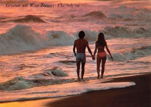 Netherlands Groeten uit West Zeeuws - Vlaanderen couple, plage, strand, beach