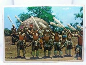 Vintage Postcard Villagers Traditional Zulu Greeting Nkwalini Zululand S Africa