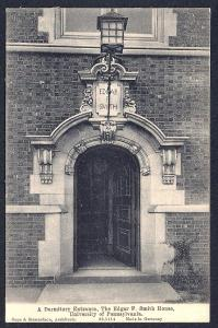 Edgar Smith Dorm Entrance Univ Philadelphia unused c1910's