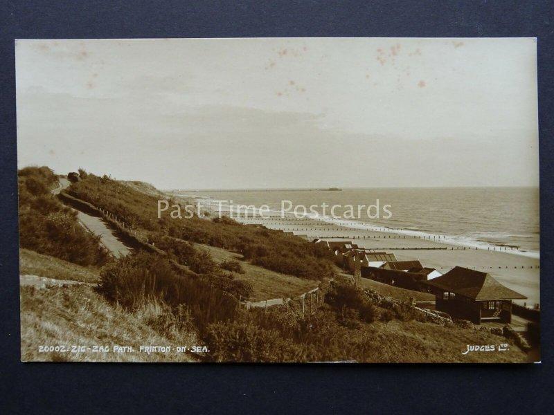 Essex FRINTON ON SEA Zig Zag Path & Beach Huts c1938 RP Postcard by Judges 20002