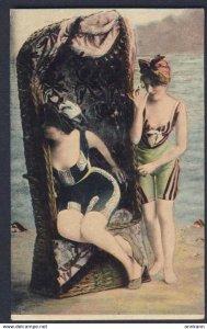 SWIMSUIT PIN-UP GLAM FASHION busty women wearing bathing suit on sandy beach