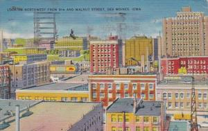 Iowa Des Moines Looking Northwest From 9th and Walnut Street 1943