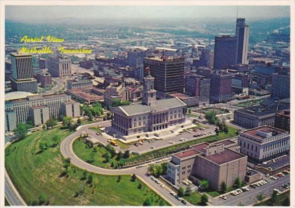 Tennessee Nashville Aerial View State Capitol and Supreme Court Buildings