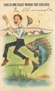Artist impression Comic Humor 1916 Fishing Bite Postcard 20-1156