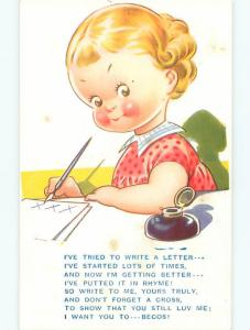 Unused Bamforth comic CUTE GIRL WITH ROSY CHEEKS WRITES A LETTER J3829