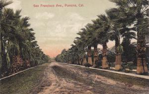 POMONA, California; San Francisco Avenue, Palm Tree-lined, PU-1907