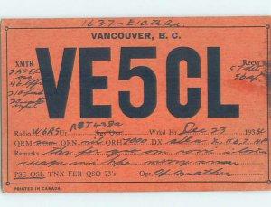 1930s QSL RADIO CARD Vancouver British Columbia BC AH3155