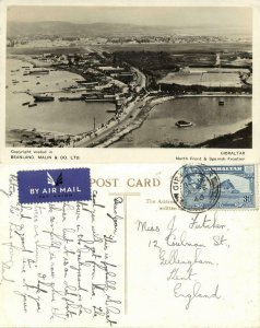 Gibraltar, North Front & Spanish Frontier (1946) RPPC Postcard
