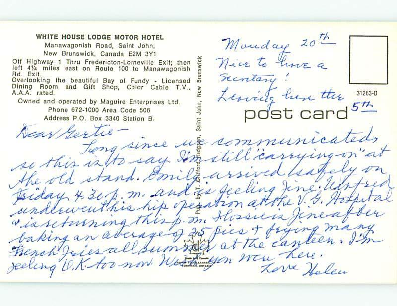 Pre-1980 OLD CARS & WHITE HOUSE LODGE MOTEL IN ST. SAINT JOHN NB CANADA s7947