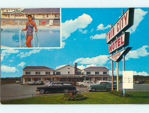 Pre-1980 OLD CARS & TWIN CITY MOTEL Brewer Maine ME r0589