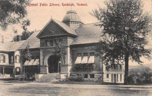 Kimball Public Library, Randolph, Vermont, Early Postcard, Used in 1909