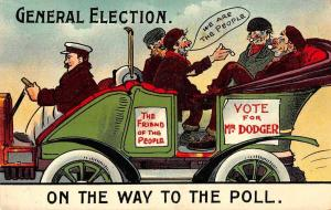 General Election On the Way to the Poll Hobos in Car Antique Postcard J81218