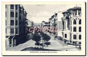Old Postcard Pamplona Avenida de Roncesvalles