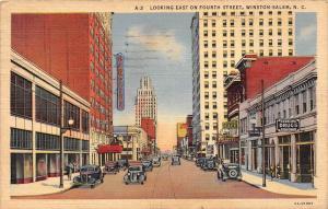 11705  NC  Winston Salem 1940's   Looking East on Fourth Street