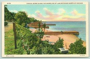 Chicago Illinois~Lake Michigan North Shore Docks & Beaches~Dirt Road~1937 Linen