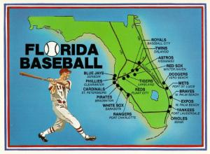 Postcard of Florida Spring Training Baseball Stadium Map