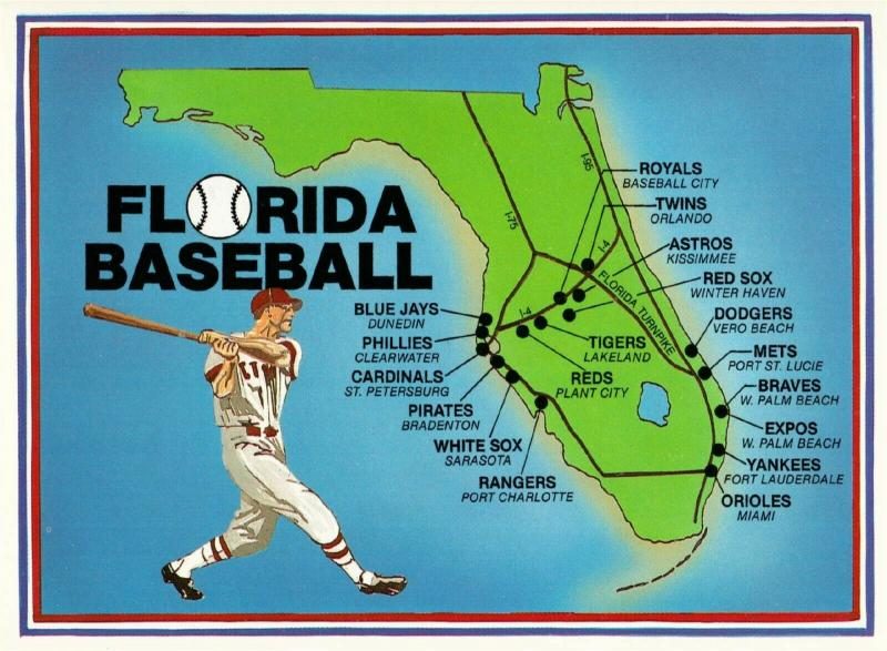 Postcard of Florida Spring Training Baseball Stadium Map ...
