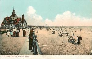 South Boston~ Leans Over Rail~City Point~Beach Crowd~Victorian Gals on Boardwalk
