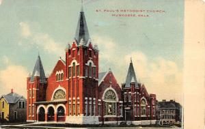 Muskogee Oklahoma St Pauls Methodist Church Exterior Antique Postcard K20150