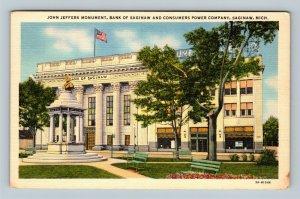 Saginaw MI, John Jeffers Monument, Bank Saginaw, Linen Michigan c1956 Postcard