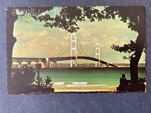 The Mackinac Bridge MI Chrome Postcard H1214085954