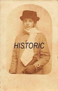 YOUNG WOMAN SCARF & HAT~KRIEGSJAHR-YEAR OF THE WAR~1916-17 PHOTO POSTCARD