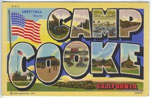 Camp Cooke CA Large Letter Linen Curt Teich Military Postcard