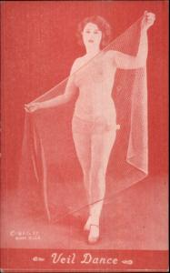Nude Sexy Showgirl Pin-Up Exhibit Mutoscope Card RED TINT SERIES VEIL DANCE