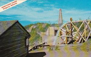 Canada Heritage Park Water Wheel And Mine Shaft As Used In Early West Gold Mi...