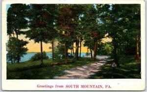 SOUTH MOUNTAIN, Pennsylvania Postcard Greetings / Road Scene w/ 1934 Cancel