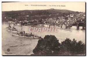 Old Postcard Villefranche The City And The Rade Boat