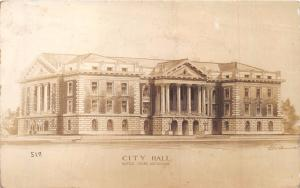 BATTLE CREEK MICHIGAN CITY HALL~ARTIST SIGNED REAL PHOTO POSTCARD 1913