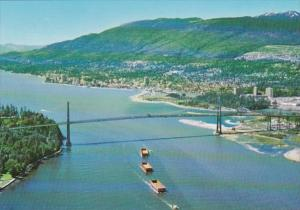 Canada British Columbia West Vancouver Lions Gate Bridge Aerial View