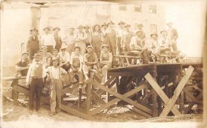 Real Photo Postcard~Worker Men & Boss Man~Wheelbarrows~Wire Co 1908~RPPC