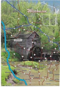 US Unused. Wisconsin Map & Hyde's Mill.  Nice.