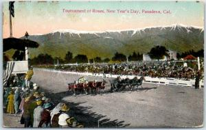 Pasadena, California Postcard Tournament of Roses Chariot Horse Race c1910s
