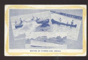 WINONA LAKE INDIANA BOATING VINTAGE BOATS ADVERTISING POSTCARD