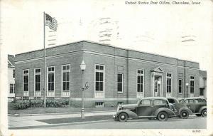 Cherokee Iowa~United States Post Office~1930s Cars~1938 B&W Postcard