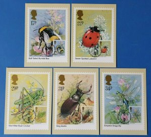 Set of 5 PHQ Stamp Postcards Set No.82 FIRST DAY ISSUE (front) Insects 1985 CD0