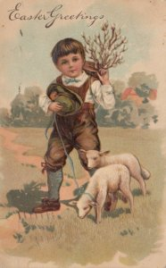 EASTER, PU-1908; Boy walking with sheep, branches, PFB 6776